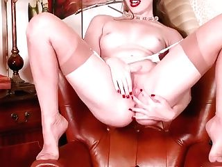 Horny Blonde Brook Logan Wanks Off In Antique Fully Fashioned Nylons And Garters