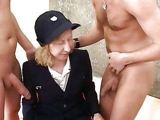 Matures Lady In Retro Uniform Enjoyments Old-school Xxx Threesome Fuck