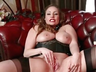 Natural Big Tits Dark Haired Sophia Delane Strips To Nylons Stilettos And Wanks